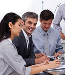 Multi_ethnic business co_workers in a meeting Business concept