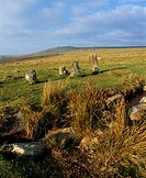 Merrivale Stone Rows on Dartmoor with Great Mis Tor on the horizon, Devon, England, United Kingdom