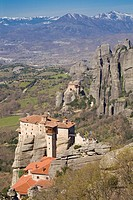 Greek Orthodox Rosanou Monastery Front and Monastery of St Nicholas Anapafsas background, Meteora, Greece