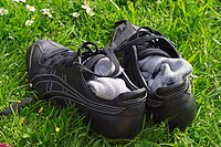 Sport shoes in the grass