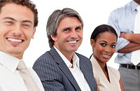 Portrait of smiling business people in a meeting Business concept