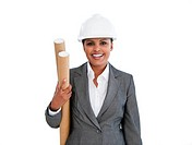 Portrait of an ethnic female architect against a white background