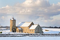 Village Church in snow, St Andrews, Little Snoring, Uk, December