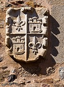Stone crest on the façade of the Palace of the Golfin Roco, Plaza de Santa Maria, Caceres, Extremadura, Spain