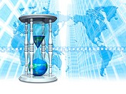 Image of hourglass and world map, office buildings in background, computer graphic
