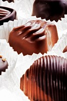 assortment of delicious dark chocolate belgian pralines