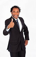 Handsome afro_american businessman with thumb up