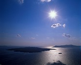 View at the island of Nea Kameni at sunset, Santorin, Cyclades, Greece, Europe