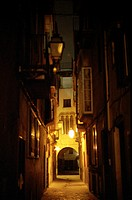 Illuminated alley at night, Palma de Mallorca, Mallorca, Spain, Europe