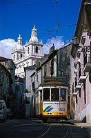 Cable car, tramline 28, Lisbon, Portugal, Europe
