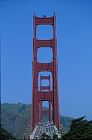 The Golden Gate Bridge under blue sky, San Francisco, California, USA, America