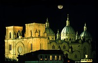 Illuminted cathedral at night, Cuenca, Ecuador, South America, America