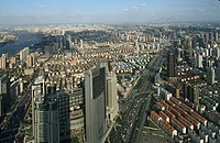 View from Jinmao Tower, Center of Pudong, Lujiazui, Huangpu River, city centre, Jinmao