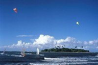 Windsurfers & Motu Martin, View from Hiti Mahina Beach, Tahiti, French Polynesia
