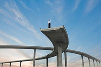 businessman standing on bridge, computer_generated
