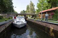 Houseboat at Kummersdorf Lock, Near Storkow, Brandenburg, Germany