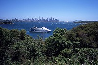 Captain Cook Cruise Boat & Sydney Skyline, View from Nielsen Park, Sydney, New South Wales, Australia