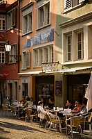 People sitting in a small pavement cafe, Augustinergasse, Zurich, Canton Zurich, Switzerland