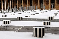 Buren columns at Palais-Royal. These columns of various sizes by the French sculptor Daniel Buren were put in place in 1986 in the very traditional-lo...