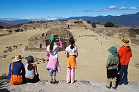 View, from the southern platform towards the main square with the observatorium in the foreground, archeological site of Monte Alban, Oaxaca de Juarez...