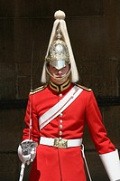 Soldier on guard at Horseguards Whitehall London Uk