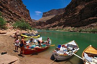 People and boats at the banks of Colorado River, Grand Canyon, Arizona, USA, America