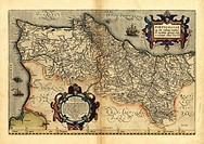 Ortelius´s map of Portugal. This map is from the 1570 first edition of Theatrum orbis terrarum ´Theatre of the World´. Drawn by the Flemish mapmaker A...