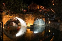 A stone bridge at night, Old town of Lijiang, Yunnan Province, China