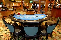 A blackjack table in the Sun City hotel casino in South Africa