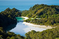 New Zealand, Nelson, Abel Tasman National Park  Frenchman´s Bay / cove , a tidal lagoon viewed from above on a viewpoint along the Coastal Track