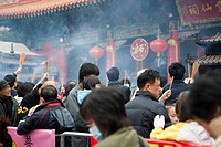Crowded with worshippers in Chinese new year at Wong Tai Sin temple, Hong Kong