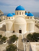 Perissa. Orthodox church.Santorini island. Cyclades islands. Aegean Sea. Greece
