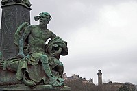 Scotland, Greater Glasgow, Glasgow, Bridge over the River Kelvin detail with male figure representing war with Park Circus beyond.