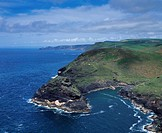 England, Cornwall, Boscastle, An aerial view of Penally Point and the entrance to Boscastle Harbour
