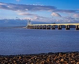 England, Gloucestershire, Severn Beach, The Second Severn Crossing over the River Severn between England and Wales seen from Severn Beach