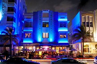 Park Central Hotel at night, South Beach, Ocean Drive,Miami, Florida, USA