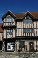 England, Warwickshire, Warwick, The timber framed facade of the Lord Leycester Hospital in Warwick.