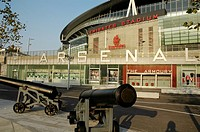 Arsenal Emirates Football Stadium showing cannons, Armoury shop and box office, London, England