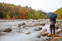 East Branch of the Pemigewasset River during the autumn months in Lincoln, New Hampshire USA