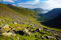 England, Cumbria, Great Gable, Lake District National Park.View from the lower slopes of Great Gable towards Wastwater and Wasdale