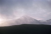 Mountain in early morning mist. Tateshina, Nagano Prefecture, Japan