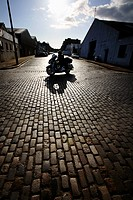 Scotland, Midlothian, Edinburgh, Motorcycle rider on South Fort Street in Edinburgh