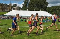 England, North Yorkshire, Gargrave, Runners at the start of a fell race at Gargrave Show, an annual country show near Skipton.