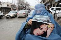 Afghan women and girls wearing a burqa in Kabul