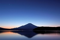 Lake Yamanakako and Mt. Fuji at sunset