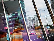 England, Greater Manchester, Manchester, Reflections in the windows of the Lowry Centre in Manchester.