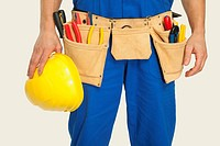 Man wearing tool belt and holding hard hat, mid section, close_up