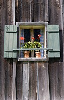 Austria, Salzkammergut, Gosau, Farmhouse with potted plants on a windowsill