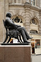 England, London, The City, Statue of George Peabody next to the Royal Exchange in London.