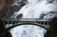 columbia river gorge national scenic area, oregon, united states of america, multnomah falls covered in snow and ice